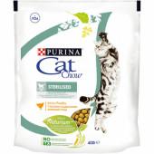 Cat Chow 400 г STERILISED для стерилизованных кошек и кастрированных котов с птицей