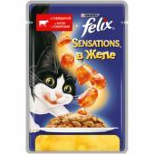Влажный корм Felix Sensations для кошек с говядиной в желе с томатами,  85 г