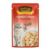 Деревенские лакомства для кошек Пауч 70 г Курица с уткой в желе