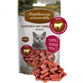 Деревенские Лакомства для кошек нарезка из говядины 45 г 711359