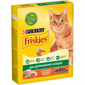 Friskies 300 г для домашних кошек с курицей и полезными овощами